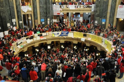 Protestors occupying Wisconsin state house