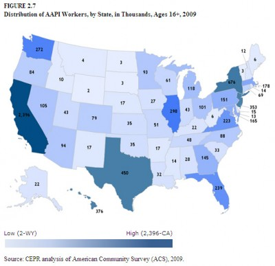 AAPI workers by US state
