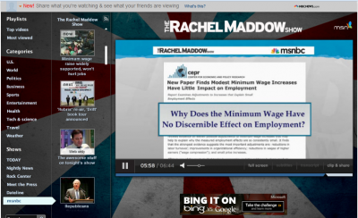 Screen shot from online video of Rachel Maddow show segment on the minimum wage