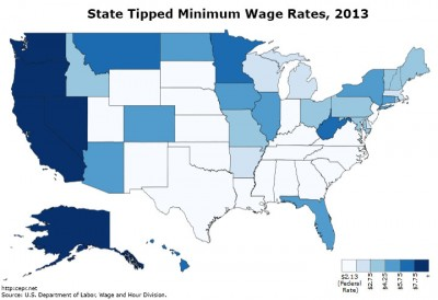 Map of state-level minimum wages for tipped workers, 2013