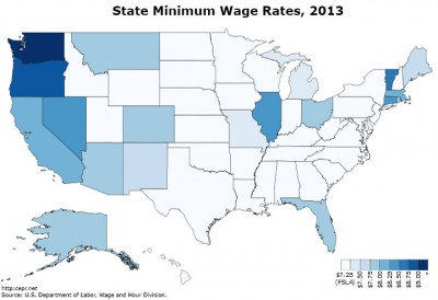 Map of state-level minimum wages, 2013