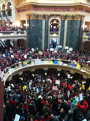 Thousands gather inside Madison Wisconsin's capitol rotunda to protest Governor Walker's bill on February 16, 2011.